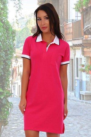 Платье Данный товар можно выбрать по расцветкам: малиновый;фиолетовый;в ассортименте. состав: 95% хлопок, 5% лайкра, ткань: пике. Платье-поло, ткань пике-лакост с лайкрой, плотность 180 г/м3. Воротник