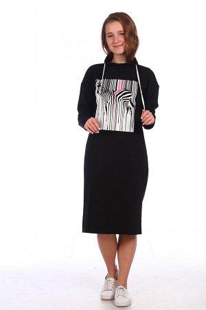 Платье Характеристики: Состав- хлопок 75%,лайкра 5%,пэ 20%; Материал: Футер с лайкрой Уютное домашнее платье с контрастным молодежным принтом. Спинка изделия: однотонная.