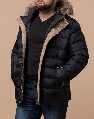Черная качественная куртка на молнии модель 38049