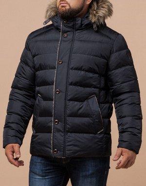 Куртка сине-черная с меховой опушкой модель 38049