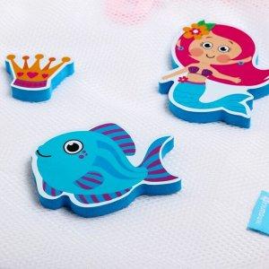 Наклейки в ванную из EVA «Наша русалочка» + сетка для хранения игрушек на присосках