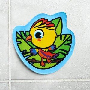Водная раскраска - наклейка для игры в ванной «Попугай»