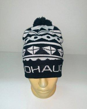 Шапка Бело-черная шапка с узором и помпоном  №4029