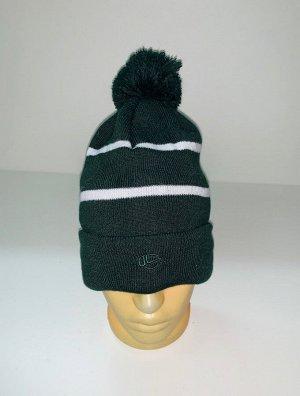 Шапка Зеленая шапка с белыми полосками и помпоном  №4028