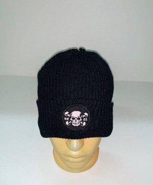 Шапка Черная шапка с черепом  №4019
