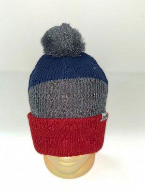Шапка Трехцветная шапка с серым помпоном  №4165