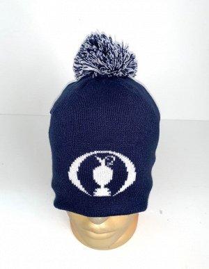 Шапка Топовая темно-синяя шапка с помпоном  №4055