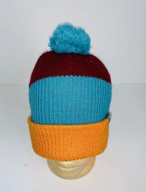 Шапка Трехцветная топовая шапка с помпоном  №4063