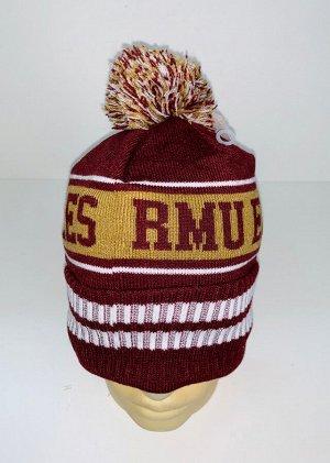 Шапка Бордовая шапка с полосами и помпоном  №4064
