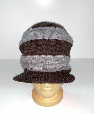 Шапка Крутая шапка в полоску с козырьком  №4089