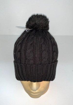 Шапка Черная шапка с вязаными косами и помпоном  №1751