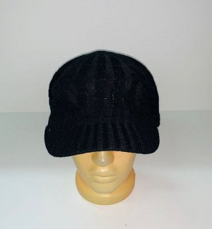 Шапка Черная шапка-кепка с козырьком  №1651