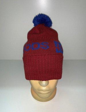 Шапка Красная шапка с синим помпоном  №3961