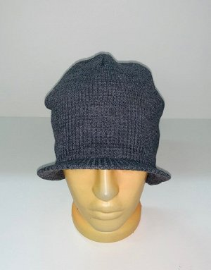 Шапка Серая шапка с козырьком  №1652