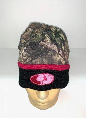 Шапка Камуфляжная шапка от Mossy Oak с черным отворотом  №1631