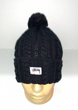 Шапка Вязаная черная шапка с помпоном  №1829