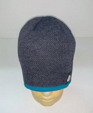 Шапка Серая шапка с голубой каймой  №1703