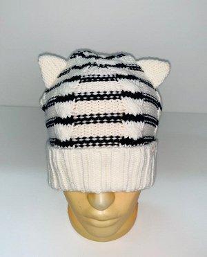 Шапка Полосатая шапка с ушками  №1708