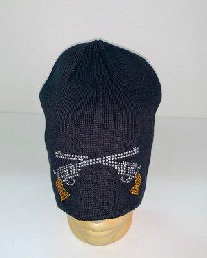 Шапка Черная шапка с револьверами  №1654