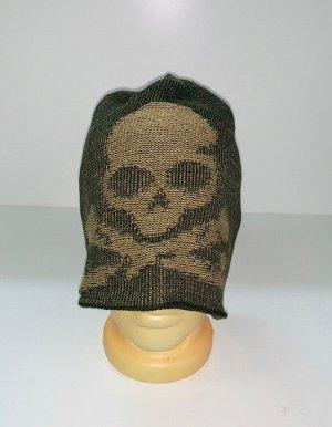 Шапка Оливковая шапка с черепом  №1516