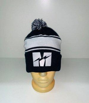 Шапка Черно-белая шапка с помпоном  №3925