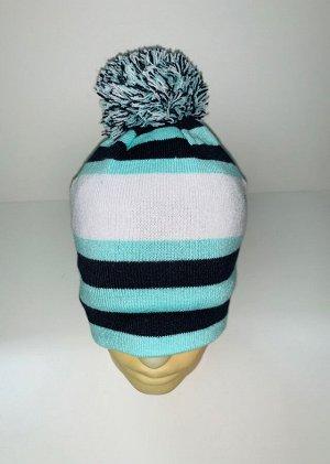 Шапка Яркая шапка в полоску с помпоном  №3923