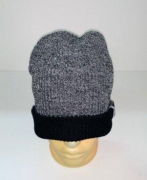 Шапка Серая шапка с черным отворотом  №1523