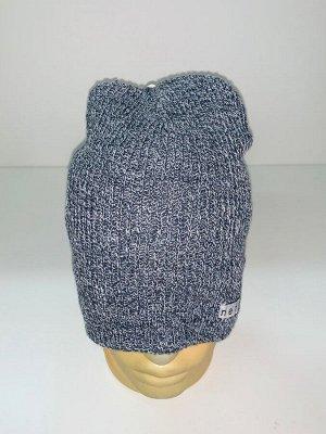 Шапка Вязаная шапка серого цвета  №1539
