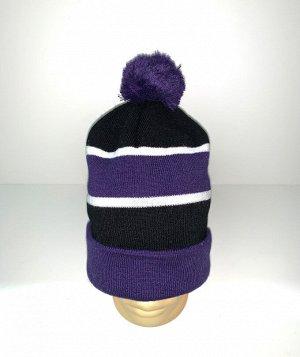 Шапка Полосатая стильная шапка с помпоном  №3919