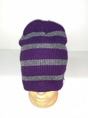 Шапка Фиолетовая шапка в серую полоску  №1588
