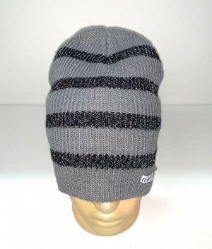 Шапка Серая шапка в черную полоску  №1589
