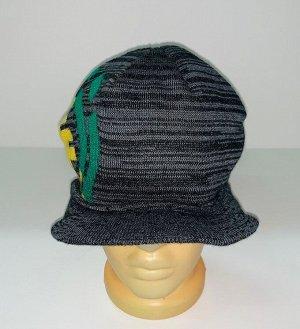 Шапка Серая шапка с козырьком и узором  №1639