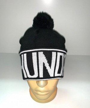 Шапка Черная шапка с белой надписью  №3885