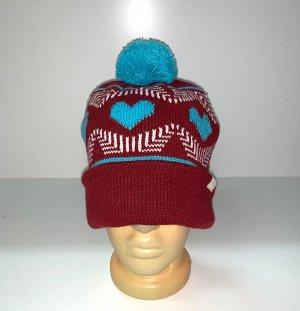Шапка Женская трендовая шапка с помпоном  №3899