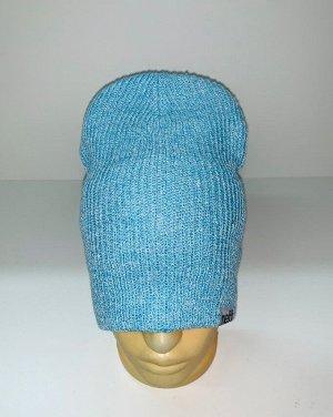 Шапка Светло-голубая трендовая шапка  №1720
