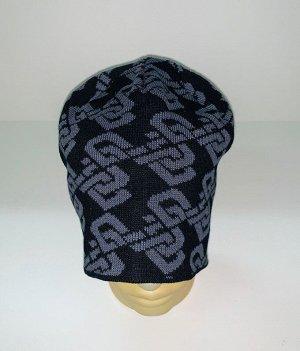 Шапка Черная шапка с серым узором  №1620