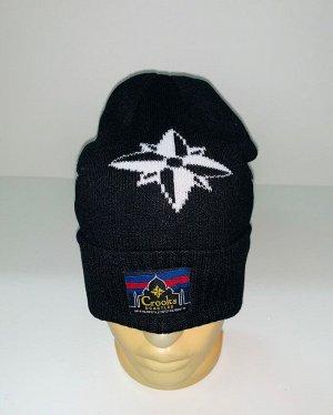 Шапка Черная шапка с Розой Ветров  №1626