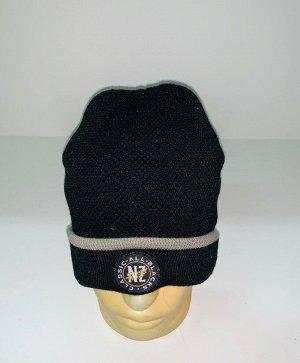 Шапка Черная шапка с серой полосой  №1615