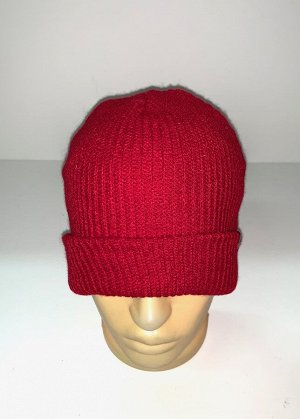 Шапка Вязаная красная шапка  №1670