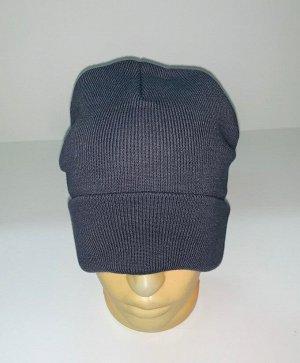 Шапка Темная шапка классического кроя  №1668