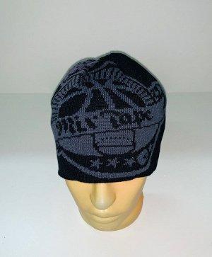 Шапка Черная шапка с крутым принтом  №1681