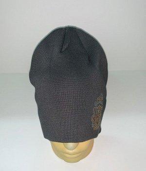 Шапка Темно-серая шапка с пайетками  №1557