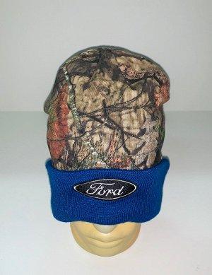 Шапка Камуфляжная шапка с синим отворотом  №1562