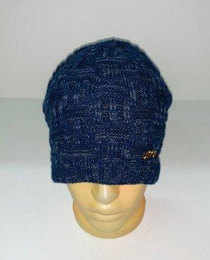 Шапка Темно-синяя вязаная шапка  №1577