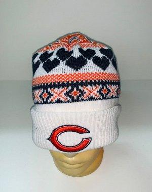 Шапка Белая шапка с цветным узором  №1896