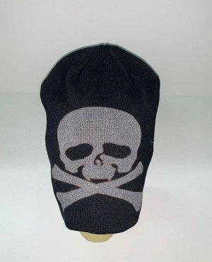 Шапка Черная шапка с черепом и костями  №1946