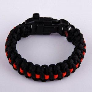 Чёрный плетёный браслет (компас, свисток и огниво) №30