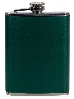Фляжка из нержавеющей стали с винтовой крышкой (кожа, зеленая)