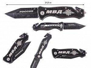 """Тактический нож """"МВД"""" - функциональный нож в подарок полицейскому с символикой МВД, стеклобоем. Клинок типа танто, сталь - 440. (C-19) №1151"""