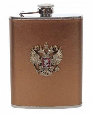 Карманная фляжка с гербом России - высококачественная сталь, обтянутая кожа, металлический жетон №28